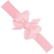 Wee Ones® Mini Classic Grosgrain Double Hair Bow on Cotton Lycra Head Wrap (Newborn Size) - Light Pink