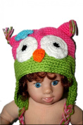 "PINK & LIME GREEN OWL Baby Hat Photo Prop Crochet Baby Hat Gift for Boy & Girl (Hand Made) by ""BubuBibi"""