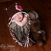 Melondipity Girls Dark Brown Crochet Bear Baby Hat with Red and White Flower - Warm Beanie