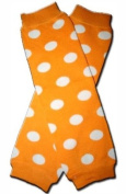 """TANGERINE WITH WHITE POLKADOTS Baby Leggings/Leggies/Leg Warmers for Cloth Nappies - GIRLS OR BOYS & ONE SIZE by """"BubuBibi"""""""