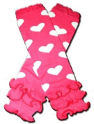 """HOT PINK RUFFLES WITH WHITE HEARTS - Baby Leggings/Leggies/Leg Warmers for Cloth Nappies - Little Girls & Boys & ONE SIZE by """"BubuBibi"""""""