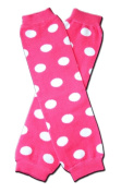 """HOT PINK WHITE POLKADOTS Baby Sweet Leggings/Leggies/Leg Warmers for Cloth Nappies - Little Girls & ONE SIZE by """"BubuBibi"""""""