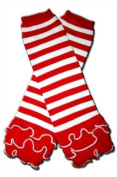 """RED WITH WHITE STRIPES RUFFLE - Baby Leggings/Leggies/Leg Warmers for Cloth Nappies - Little Girls & Boys & ONE SIZE by """"BubuBibi"""""""