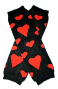 """BLACK WITH RED HEARTS- BE MY VALENTINE Baby Leggings/Leggies/Leg Warmers for Cloth Nappies - GIRLS OR BOYS & ONE SIZE by """"BubuBibi"""""""