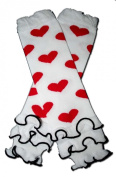 """WHITE RUFFLES WITH HOT PINK HEARTS - Baby Leggings/Leggies/Leg Warmers for Cloth Nappies - Little Girls & Boys & ONE SIZE by """"BubuBibi"""""""