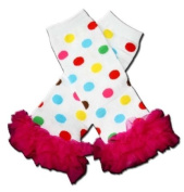 """colourful MULTIDOTS WITH LIGHT PINK CHIFFON RUFFLES - Baby Leggings/Leggies/Leg Warmers for Cloth Nappies - Little Girls & Boys & ONE SIZE by """"BubuBibi"""""""