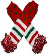 "CHRISTMAS POLKADOTS & STRIPES WITH RED & WHITE RUFFLES Tutu Chiffon Ruffles - Baby Leggings/Leggies/Leg Warmers for Cloth Nappies - GIRLS & ONE SIZE by ""BubuBibi"