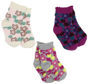 Country Kids Baby-girls Infant Fuzzy Flower 3 Pair Socks