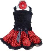 Girls Pettiskirt Set - Red and Black Polka Dots LG 5-6X