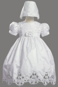 White Shantung Christening Baptism Dress with Cutwork Accents and Bonnet