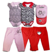 3 Piece Outfit Zebra Print Creeper with Pants and Bib 0-3 Months