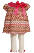 Bonnie Baby Baby-Girls Infant Flame Stitch Top With Pearl Marrow Hem And Legging