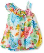 Bonnie Baby-Girls Newborn One Shoulder Chiffon Bubble Dress
