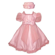 Baby Fancy Easter Dress - Pink with Sheer Accents