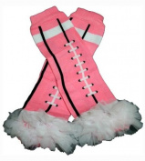 PINK FOOTBALL WHITE CHIFFON RUFFLES Baby Sweet Leggings/Leggies/Leg Warmers - BubuBibi
