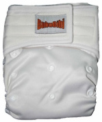 "Bamboo Pocket Applix hook and loop Cloth Nappy/ Nappy with 1 Insert - One Size - WHITE by ""BubuBibi"""