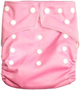 """Bamboo CUTE SOLID Pocket Snaps Cloth Nappy/ Nappy with Hip Snaps with 2 Inserts - One Size - PINK by """"BubuBibi"""""""