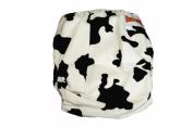Minky Bamboo Pocket Snaps Cloth Nappy/ Nappy - OS - BLACK COW PRINTS