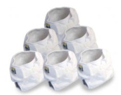 Real Nappies 6-Pack of Snug Wrap Nappy Covers, White