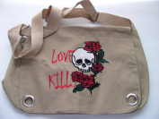 Love Kills Messenger Bag Embroidered Skulls Design