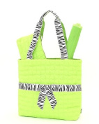 Belvah Quilted Leaf Pattern 3pc Nappy Tote Bag with Zebra Accent Ribbon - Choice of Colours