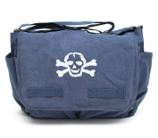 Heavyweight Messenger Nappy Bag in Blue with White Skull