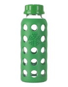 Glass Bottle with Flat Cap and Silicone Sleeve Grass Greens Lifefactory 270ml Bottle