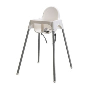 Ikea's ANTILOP Highchair with safety belt, white, silver colour and ANTILOP Highchair tray, white