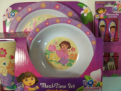 Dora the Explorer 5 Piece KCARE Dining Set ~ Plate, Bowl, Cup, Fork, Spoon