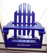 Blue Children's Adirondack Swing - Rope & Seat Belt Included - Weather Resistant Aspen Wood -41cm square x 51cm High - Made in USA -BLUEBERRY BLUE