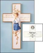 First Communion Praying Boy or Girl Figure Wall Room Cross