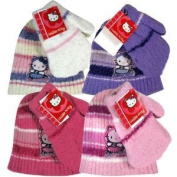 Hello Kitty 2pc Chenille Hat & Mitten Set For Girls
