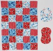 Elmo with Light Purple and Green Alphabet Baby Rag Quilt with Matching Burp Cloth and Bib