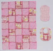 Baby Toys and Yellow Ducks with Pink Print Accents Baby Rag Quilt with Matching Burp Cloth and Bib