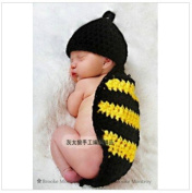 Baby Crochet Knitted Set Classic Black and Yellow Colour Crochet Cap Beanies Baby Hat Photography Hats Baby Animal Hat Cap