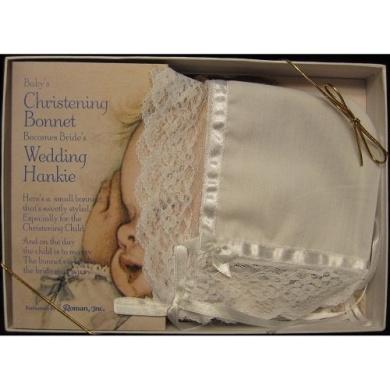 Christening Baptism Baby Bonnet Becomes Bride's Wedding Hankie Baby Baptismal Keepsake
