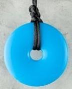 Teething Bling Necklace Donut Shaped Pendant - Aqua Blue