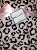 Cutie Pie Plush Pink Leopard With Black & White Spots Baby Nursery Blanket