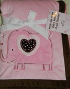 Pink & Brown Elephant Reversible Sherpa Plush Baby Blanket