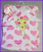 Snugly Baby Embroidered Frog Princess With Pink Hearts on White Baby Blanket