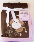 Baby Monkey Pink & Brown Plush Embroidered Reversible Sherpa Blanket