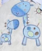 Blue Giraffe Reversible Sherpa Baby Animal Plush Blanket