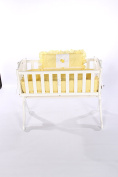 Baby Doll Bedding Gingham with Elephant Applique Cradle Bedding Set