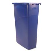 Slim Jim Waste Container, Rectangular, Plastic, 23gal, Blue