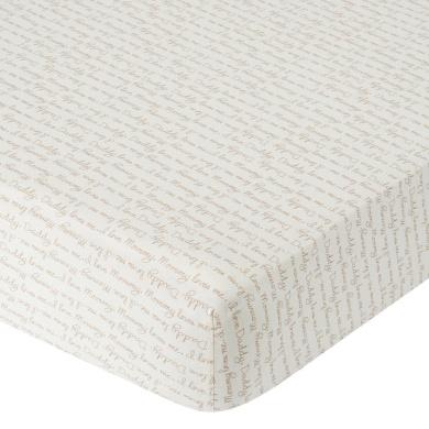 . Knit Crib Sheet - Mocha Script