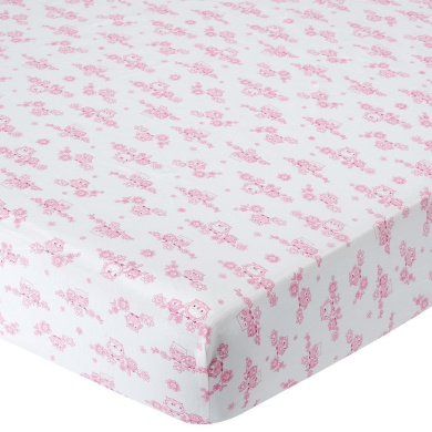. Percale Crib Sheet - Pink Toile Owl