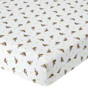 . Percale Crib Sheet - Monkey