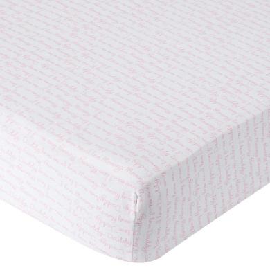 . Knit Crib Sheet - Pink Script