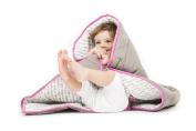 Baby Deedee Toddler Quilt, Slate/Hot Pink