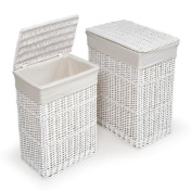 White Two Hamper Set with Liners